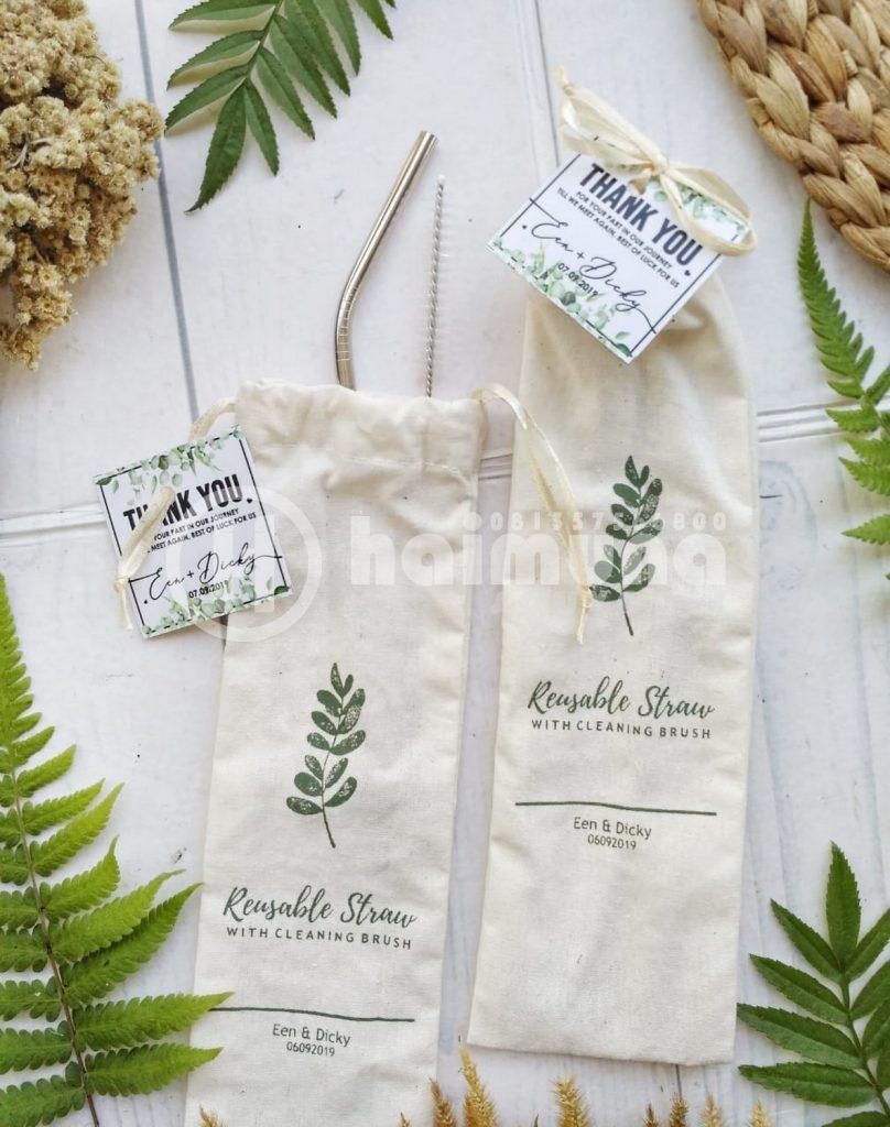 souvenir pernikahan stainless straw pouch