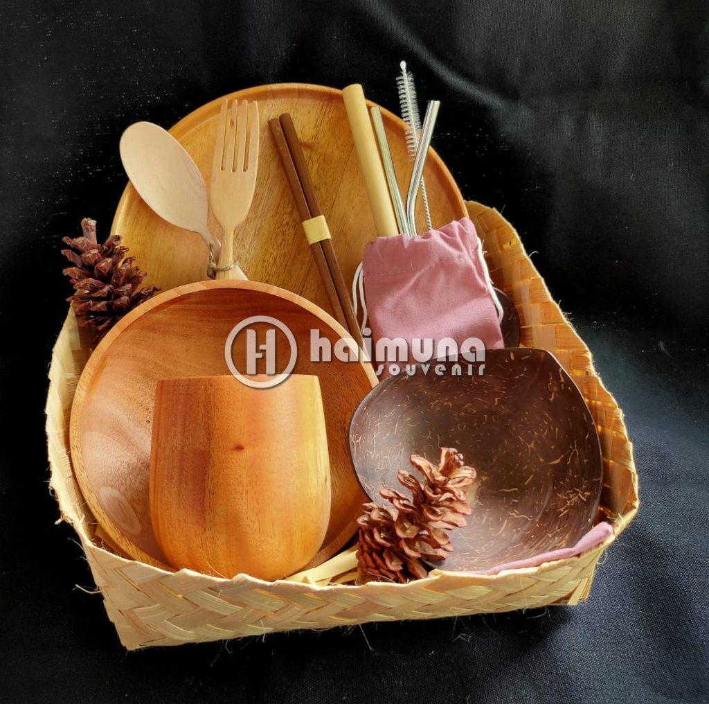 hampers set cutlery kayu